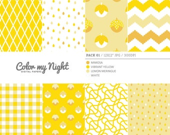 Digital Paper Yellow 'Pack01' Chevron, Gingham, Drops, Fruits, Crosshatch & Abstract Backgrounds for Scrapbooking, Crafts...