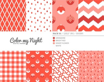 Digital Paper Red 'Pack01' Chevron, Gingham, Drops, Fruits, Crosshatch & Abstract Backgrounds for Scrapbook, DIY Projects...