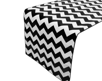 Zen Creative Designs Premium Cotton Table Top Runner Zig-Zag Chevron Black