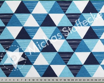Blue Triangles! cotton lycra, jersey knit fabric