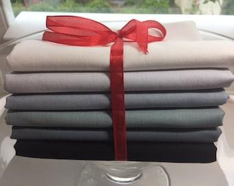 Kona Cotton Black to White for Robert Kaufman fabric 6 piece Fat Quarter Bundle
