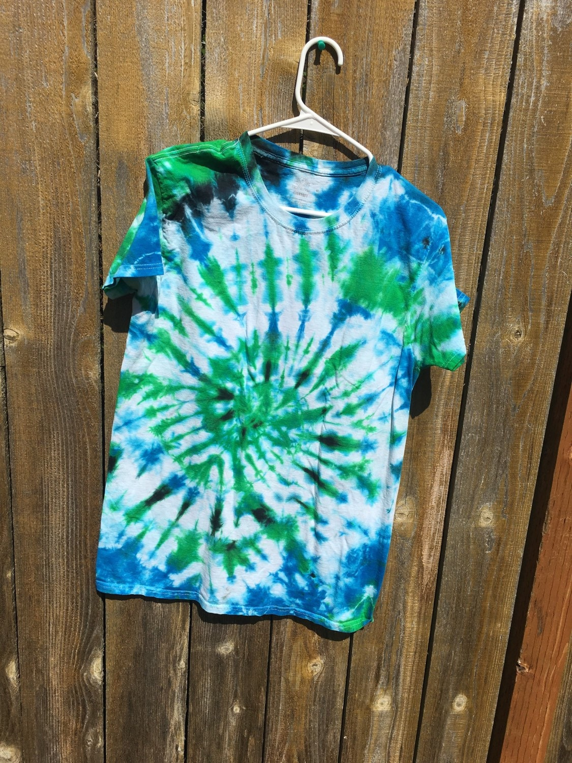 Green blue and black tie dye swirl t shirt by tyedyechyld for Black and blue tie dye t shirts