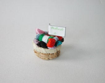 Doll House wool rest basket for the handicraft shop, miniature in 1:12 for the doll