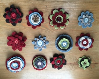 Boiled wool brooches
