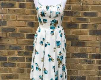 italian hand made fifties vintage 50s floral dress | size petite