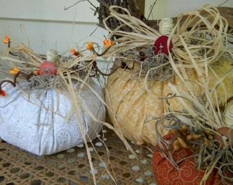 SALE, Fabric Pumpkins Set Of 3,Fall Decor,Halloween Decor,Thanksgiving,Autumn Decor, Stuffed Pumpkins, Country Decor, SALE