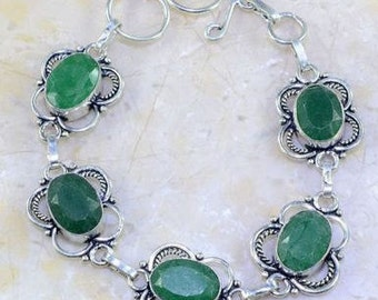 """Sterling Silver Emerald BRACELET 7 3/4-8 1/2"""" inches"""