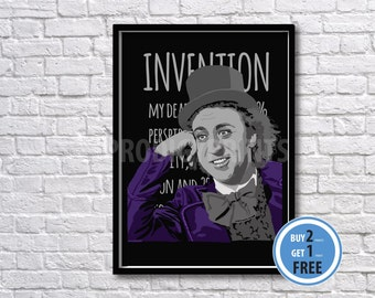 Willy Wonka art print, Willy Wonka poster, Charlie and the Chocolate factory.