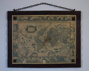 ANTIQUE Map On Wooden Plaque, Vintage World Map, The World and the Continents by Willem J. Blaeu - 37.5cm x 48.5cm