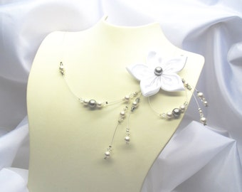 Wedding necklace, necklace wedding white flower pearls white and grey Crystal Swarovski