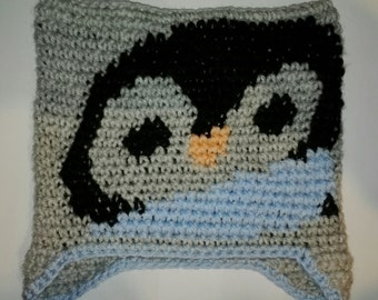 Crochet Penguin hat 0-3 months