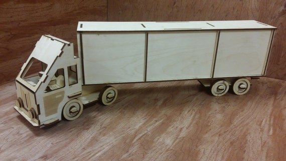 Laser Cut Wooden Model Kit Semi Truck Lorry Cabover Ages 8
