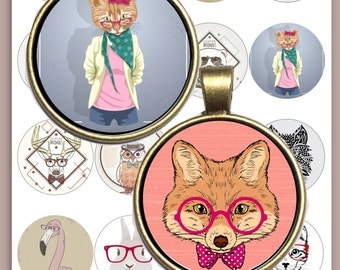 Hipster Animals Digital Collage Sheet /you will get it in 3 sizes/ 16 different circle  Pendant Printable Download jewelry making