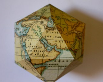Geometric paper ball - Vintage world map pattern