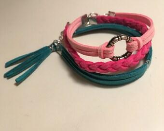 Leather stack bracelets, braided leather bracelet,