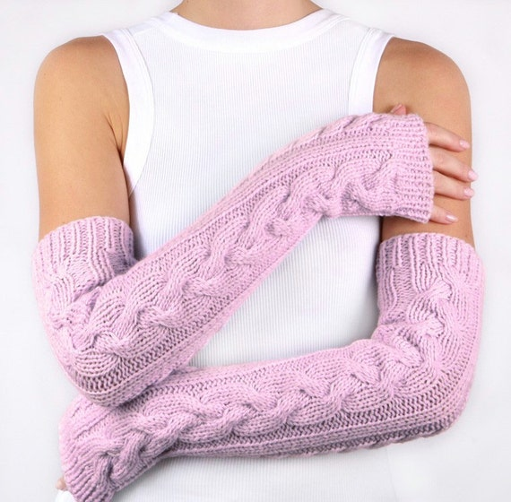Pink Fingerless Gloves Womens Arm Warmers with braids, Long arm warmers Winter Arm Warmers, Pink Gloves, Fingerless Gloves, Pink mittens