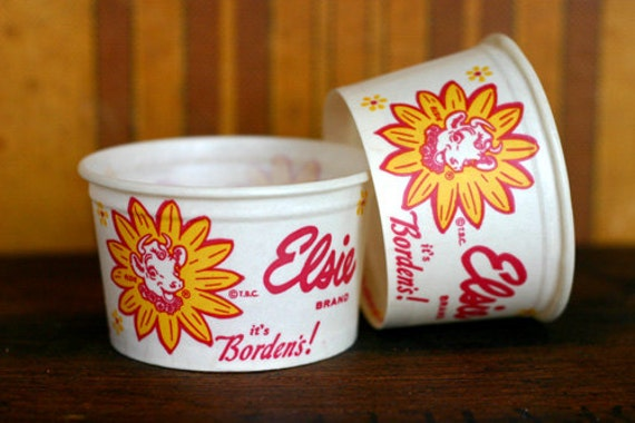 Vintage Large Elsie Ice Cream Cups - General Store - Ephemera - Mixed Media - Altered Art - Collage - Assemblage - Scrapbooking