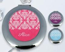 Custom Compact Mirror, purse mirror, Makeup Mirror,floral
