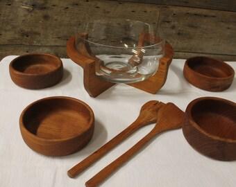 Vintage glass and teak salad bowl set
