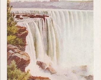 Niagara Falls Antique Vintage Painting Print