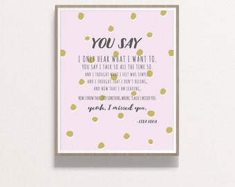 "8x10 ""Stay"" Lyrics Typography Print, lavender-Instant Download"