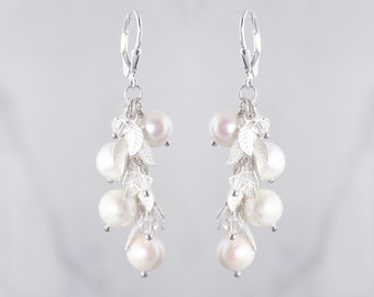 Silver Leaf Fringe Earrings - Bridal or Bridesmaid Jewelry - Swarovski Crystals, Freshwater Pearls - Style 1109A - Ready to Ship