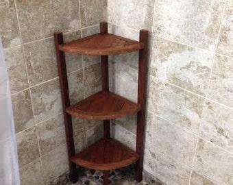 Mahogany Corner Shower Shelf