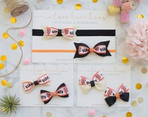 San Francisco Giants Headband, Baby Headband, Gift for Giants Fan, Infant Headband, Bow Tie Bows, Pinwheel Bows, MLB Headband, Bow Headband