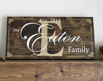 Custom Painted Family Name Sign on Small Stained Wood Pallet