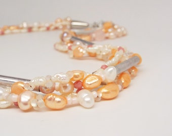 Peaches and Cream - multi strand orange pearl necklace with coral crystals and freshwater pearls