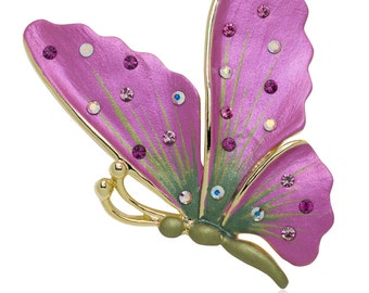 Hand Painted Swarovski Element Butterfly Brooch Pin - Pink