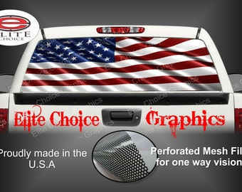 American Flag Rear Window Graphic Tint Decal Sticker Truck SUV Van Car