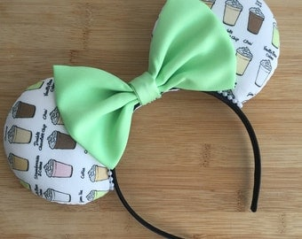 Frappuccino Ears, Starbucks Mouse Ears, Coffee ears, Custom Mouse Ears, Minnie Ears, Disney Ears, Frappuccino Minnie Ears, Starbucks Ears