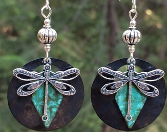 Dragonfly earrings, dragonfly jewelry, unique dragonfly, hammered metal, patina, insect jewelry