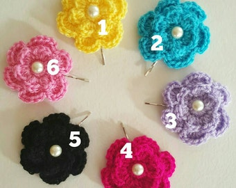 Pair of crochet flower Bobby pins