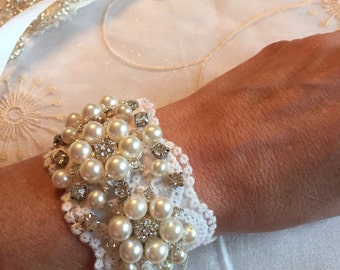 Hand Beaded Pearl Wedding Cuff