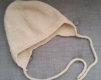 Hand-knit Beanie with Ear Flaps and Ties