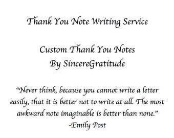 Thank You Note Writing Service