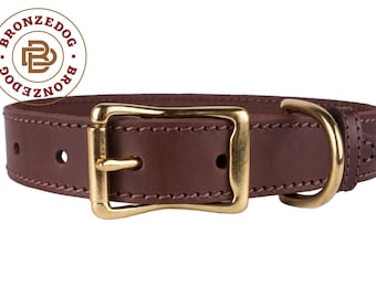 Dog Collar Brass Hardware Brown Leather Small Medium Large