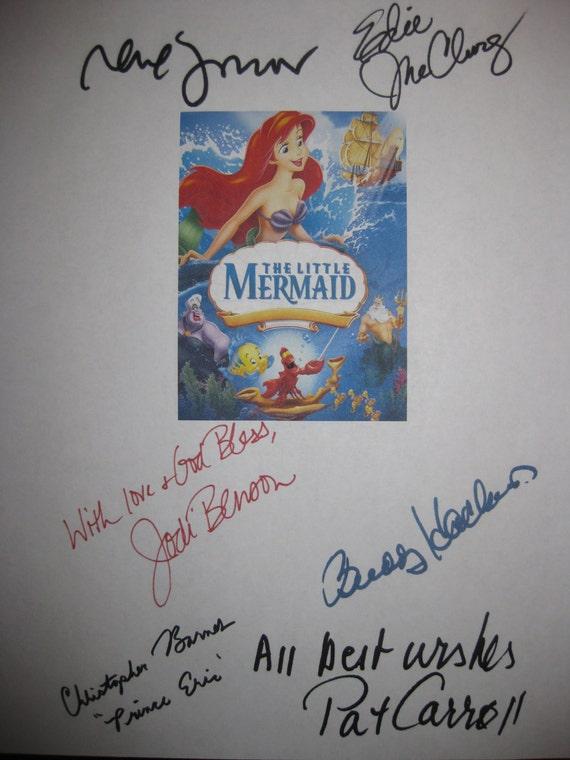 The Little Mermaid Signed Film Movie Screenplay Script Autograph Jodi Benson Buddy Hackett Pat Carroll Rene Auberjonois Christopher Barnes
