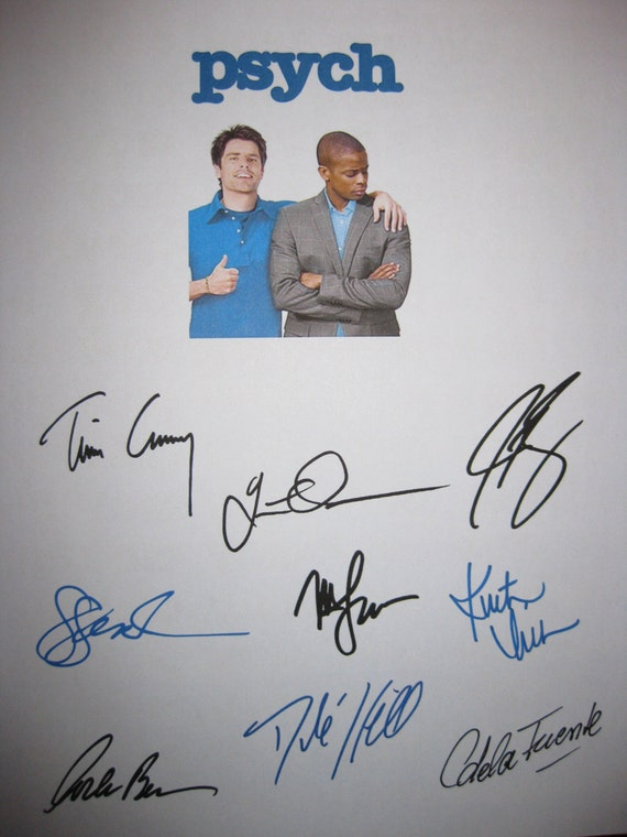 Psych Signed TV Script Screenplay X9 Duos James Roday Dule Hill Corbin Bernsen Timothy Omundson Kristen Nelson Tim Curry autograph signature