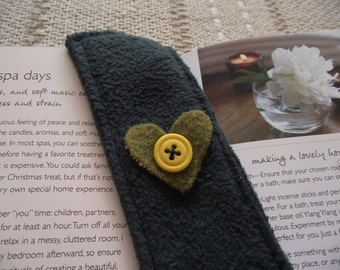 Recycled Bookmark With Heart and Button