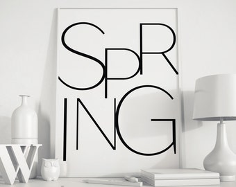 Hello Spring, printable art, Typography Print, Spring art, Printable Quote, Typography art, Printable Decor Art, minimal, Typography poster