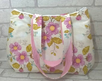 Handbag, shoulder bag with floral print, Summer bag