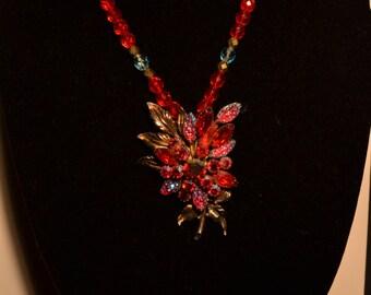 Vintage red floral spray pendant  (#27)