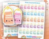 35 Cute Wash Towels/Clean/Chores Planner Stickers, Filofax, Erin Condren, Happy Planner,  Kawaii, Cute Sticker, UK