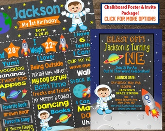 Boy's first birthday chalkboard sign, astronaut first birthday, astronaut invite, space invite, outer space theme party, space party, print