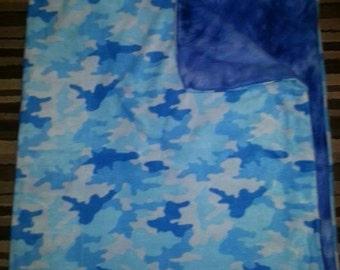 Blue camo with blue back side blanket