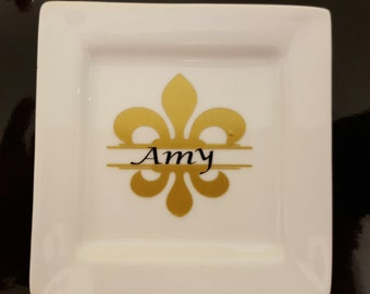 Fleur de lis ring dish with name