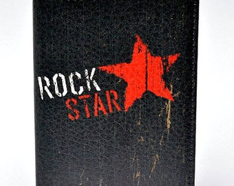 Passport cover eco leather holder Rock Star music print
